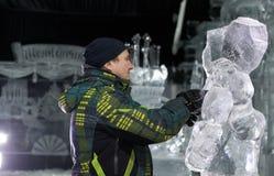 Esculturas de hielo en St Petersburg, Rusia Imagenes de archivo