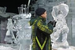 Esculturas de hielo en St Petersburg, Rusia Imagen de archivo