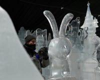 Esculturas de hielo en St Petersburg, Rusia Fotos de archivo