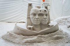 Esculturas de la arena en el embarcadero 60 Sugar Sand Festival foto de archivo libre de regalías