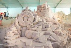 Esculturas de la arena en el embarcadero 60 Sugar Sand Festival imágenes de archivo libres de regalías