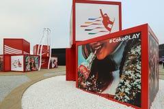 Esculturas de la publicidad en la plaza olímpica de PYEONGCHANG Fotografía de archivo libre de regalías