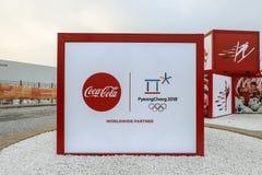 Esculturas de la publicidad en la plaza olímpica de PYEONGCHANG Imágenes de archivo libres de regalías