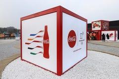 Esculturas de la publicidad en la plaza olímpica de PYEONGCHANG Fotografía de archivo