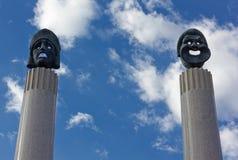 Esculturas de máscaras do teatro do grego clássico Foto de Stock Royalty Free