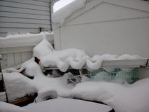 Esculturas de neve após uma tempestade da neve Imagens de Stock