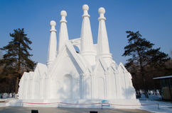 Esculturas de neve no gelo de Harbin e no festival da neve em Harbin China Imagens de Stock
