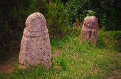 Esculturas de pedra antigas O museu arqueológico Tanais, Rússia foto de stock