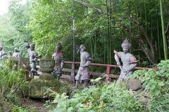 Esculturas de piedra de samurais japoneses Fotos de archivo libres de regalías