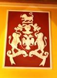 Esculturas de uma parede do ornamental no palácio de bangalore imagens de stock royalty free