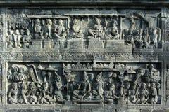 Esculturas del alivio en Borobudur Fotos de archivo libres de regalías