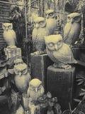 Esculturas del búho Fotos de archivo