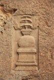 Esculturas del embutido en cueva budista Foto de archivo libre de regalías