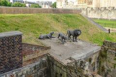Esculturas del león cerca de la torre de Londres fotos de archivo