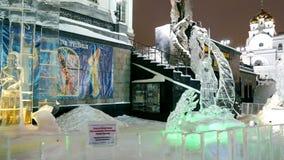 Esculturas do gelo Igreja no sangue Ekaterinburg, Ru vídeos de arquivo