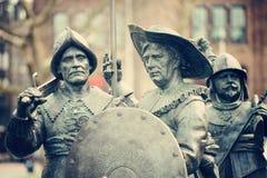 Esculturas do monumento de Rembrandt em Rembrandtplein em Amsrerdam Imagens de Stock Royalty Free
