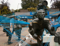 Esculturas en Luxemburgo cuadrado Fotos de archivo libres de regalías