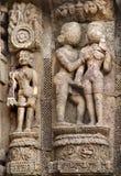 Esculturas eróticas en el templo de Sun, Konark Imagen de archivo