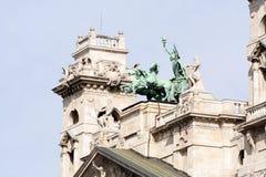 Esculturas etnográficas húngaras da fachada do museu Fotografia de Stock Royalty Free