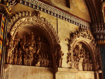 Esculturas hermosas en el pasillo dharbar del pasillo del ministerio del palacio del maratha del thanjavur Fotos de archivo libres de regalías