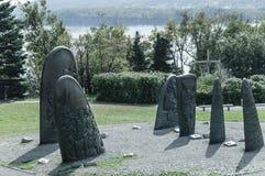 Esculturas históricas del arrabio de Gaspe Foto de archivo