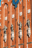 Esculturas na fachada da casa das pústulas em Riga, Letónia Imagens de Stock