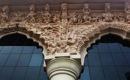 Esculturas ornamentales en el palacio del maratha del thanjavur Fotos de archivo libres de regalías