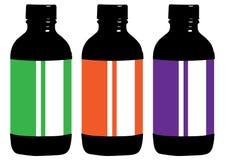 Escumalhas farmacêuticas médicas dos recipientes de vidros das garrafas do estilo liso ilustração royalty free