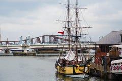 Escuna velha no porto de Boston Imagens de Stock Royalty Free