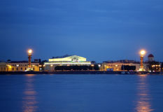 Escupida de la isla de Vasilievsky. Foto de archivo