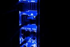 Escurecimento, beiras borradas Feche acima dos cabos azuis da rede conectados ao interruptor preto que incandesce na obscuridade Foto de Stock Royalty Free