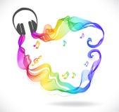 Escuro - ícone cinzento dos fones de ouvido com a onda do sumário da cor Fotografia de Stock Royalty Free
