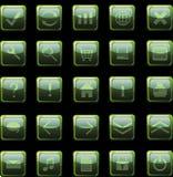 Escuro - ícones verdes do Web, teclas Imagem de Stock