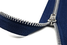 Escuro - abertura azul do zipper Imagens de Stock