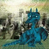 Escuro - anos novos do dragão-símbolo 2012 fantásticos azuis. Fotos de Stock Royalty Free