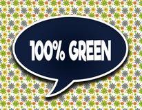 Escuro - balão azul da palavra com mensagem de texto de um VERDE de 100 POR CENTO Floresce o fundo do papel de parede Imagens de Stock Royalty Free