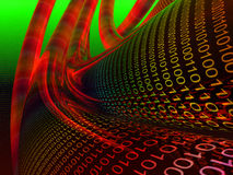 Escuro - cabos de dados binários vermelhos Fotografia de Stock