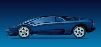 Escuro - carro de esportes azul Foto de Stock Royalty Free