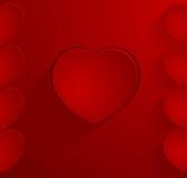 Escuro - cartão vermelho com corações Foto de Stock