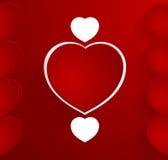 Escuro - cartão vermelho com corações vermelhos e brancos Imagem de Stock