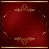 Escuro - cartão vermelho com decoração do ouro Fotografia de Stock Royalty Free