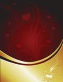 Escuro - coração vermelho do ouro Fotografia de Stock