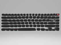Escuro - desenho cinzento da dimensão do teclado com poder e para incorporar o destaque do botão ilustração stock