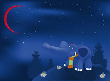 Escuro - elefante azul Fotos de Stock Royalty Free