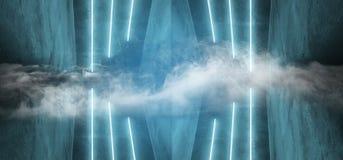 Escuro elegante moderno de néon do fundo futurista de Sci Fi do fumo - sala vazia de incandescência vibrante azul Hall Tunnel Cor ilustração royalty free