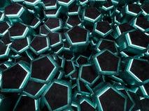 Escuro - fundo abstrato geométrico verde 3d Fotos de Stock