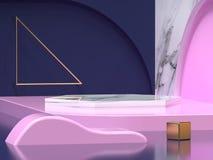 Escuro - fundo geométrico 3d da forma do sumário cor-de-rosa azul do canto do assoalho da parede para render ilustração royalty free