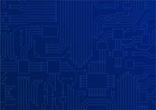 Escuro - ilustração azul de ascendente próximo da placa de circuito/processador central como o conceito para a transformação digi ilustração do vetor