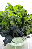 Escuro - legumes verdes no colander fotos de stock royalty free