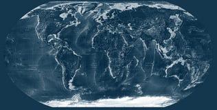 Escuro - mapa de mundo azul Imagens de Stock